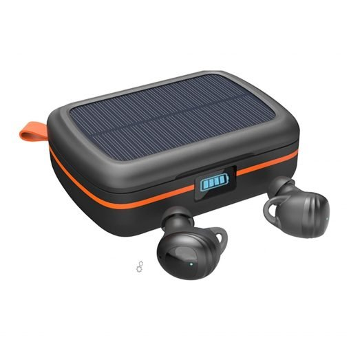 Sport Deep Bass Earbuds Solar Charging Bluetooth 5.0 Earbud Earphones 7 Hours Playtime True Wireless 2500maH Solar Charging Box